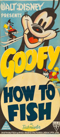 "Movie Posters:Animated, Goofy in How to Fish (RKO, 1942). Australian Daybill (13"" X 30"")Stock Poster.. ..."