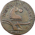 1787 NJERSY New Jersey Copper, Camel Head, Struck Over a Contemporary Counterfeit English Halfpenny, Maris 56-n, W-5310...