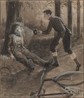 Mainstream Illustration, José Marín Baldo (Spanish, 1826-1891). Bicycle Accident.Inkwash on board. 10.75 x 9.25 in. (image). Signed lower left. ...