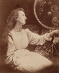 Photographs, Julia Margaret Cameron (British, 1815-1879). May Prinsep as Lady Elaine guarding the shield of Lacelot, 1873. Albumen. 4...