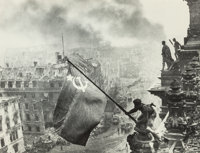 Yevgeni Khaldei (Russian, 1917-1997) Raising the Hammer and Sickle over the Reichstag, 1945 Gelatin