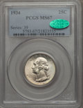 Washington Quarters, 1934 25C MS67 PCGS. CAC. PCGS Population: (107/2). NGC Census:(53/0). CDN: $550 Whsle. Bid for problem-free NGC/PCGS MS67....