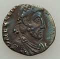 Ancients:Roman Imperial, Ancients: Eugenius (AD 392-394). AR siliqua (1.09 gm). About XF,clipped....
