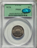 Proof Shield Nickels: , 1874 5C PR66 PCGS. CAC. PCGS Population: (45/11). NGC Census: (43/4). Mintage 700. . From The Carnton Collection, Part...