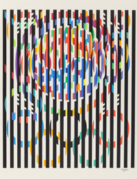 Yaacov Agam (b. 1928) Message of Peace, 1988 Silkscreen in colors 35-1/4 x 29-1/4 inches (89.5 x