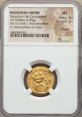 Ancients:Byzantine, Ancients: Heraclius (AD 610-641) & Heraclius Constantine (AD613-641).AV solidus (4.35 gm).NGC MS 4/5 - 3/5,clipped....