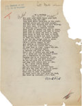 Autographs:Authors, Robert Frost Typed Poem Signed....