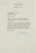 Autographs:Non-American, Alexander Kerensky Typed Letter Signed....