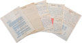 Autographs:Authors, Upton Sinclair Autograph Letters (5) Signed with Typed SignedLetter.... (Total: 8 Items)