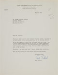 Autographs:Non-American, Paul Tillich Typed Letter Signed....