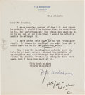 Autographs:Authors, P.G. Wodehouse Typed Letter Signed....