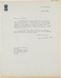 Autographs:Non-American, Jawaharlal Nehru Typed Letter Signed....