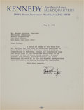 Autographs:Statesmen, Robert F. Kennedy Two Typed Letters Signed Written to NormanCousins....