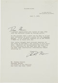 Autographs:U.S. Presidents, Richard Nixon Typed Letter Signed....