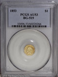 California Fractional Gold: , 1853 $1 Liberty Octagonal 1 Dollar, BG-519, Low R.4, AU53 PCGS.This moderately circulated straw-gold example retains trace...