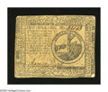 Colonial Notes:Continental Congress Issues, Continental Currency May 10, 1775 $2 Very Fine. A hard center foldand soiling define this note....