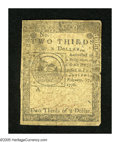 Colonial Notes:Continental Congress Issues, Continental Currency February 17, 1776 $2/3 Fine-Very Fine. A verypleasing Fugio fractional Continental that has good margi...
