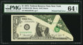 Error Notes:Attached Tabs, Major Printed Fold Error Fr. 1908-B $1 1974 Federal Reserve Note.PMG Choice Uncirculated 64 EPQ.. ...