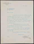 Autographs:Letters, 1926 Ban Johnson Signed Typed Letter....