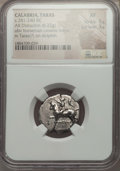 Ancients:Greek, Ancients: CALABRIA. Tarentum. Ca. 272-240 BC. AR stater or didrachm(6.22 gm). NGC XF 5/5 - 3/5. ...