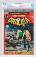 Bronze Age (1970-1979):Horror, Tomb of Dracula #1 (Marvel, 1972) CBCS VF- 7.5 Off-white to whitepages....