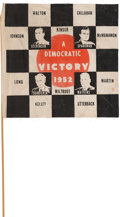 Political:Textile Display (1896-present), Stevenson & Sparkman: A Scarce and Desirable 1952 Cloth Campaign Flag from Indiana, with the Flavor of the Indy 500. ...