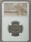 Ancients:Roman Imperial, Ancients: Constantius II as Augustus (AD 337-361). AE centenionalis(5.87 gm). NGC MS ★ 5/5 - 5/5, Silvering....