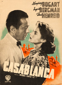 "Casablanca (Warner Brothers, 1945). First Post-War Release Finnish Poster (16.5"" X 22.5"") R.O.R. Artwork"