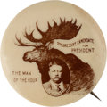 Political:Pinback Buttons (1896-present), Theodore Roosevelt: Real Photo Bull Moose Pinback....