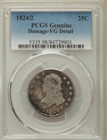 Bust Quarters, 1824/2 25C -- Damage -- PCGS Genuine. VG Details. PCGS Population: (29/144). CDN: $1,100 Whsle. Bid for ...