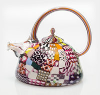 Richard Marquis (American, b. 1945) Crazy Quilt Teapot, 1979 Blown glass with murrines 4-3/4 inch