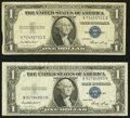 Error Notes:Gutter Folds, Fr. 1614 $1 1935E Silver Certificates. Two Examples. Fine orBetter.. ... (Total: 2 notes)