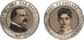 Political:Ferrotypes / Photo Badges (pre-1896), Grover and Frances Cleveland: Pair of Portrait Brooches....