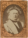 "Political:Ferrotypes / Photo Badges (pre-1896), Horace Greeley: A ""Gem"" Cardboard Photo badge in UnimprovableCondition...."