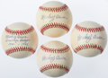 "Autographs:Baseballs, Mickey Owen Single Signed Baseball Lot of 4 - One Inscribed""Brooklyn Dodgers 1941-1945"". ..."