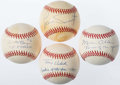 Autographs:Baseballs, New York Yankees Greats Single Signed Baseballs Lot of 4....