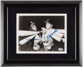 Autographs:Photos, Hank Aaron & Eddie Mathews Dual Signed Photograph Display....