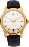 Timepieces:Wristwatch, Longines Heritage Collection Large Gold Automatic Conquest. ...