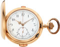 Timepieces:Pocket (post 1900), Swiss Very Fine Rose Gold Quarter Hour Repeater With Chronograph....