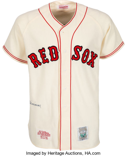 timeless design a2c25 8c972 1990's Ted Williams Signed Boston Red Sox Mitchell & Ness ...