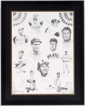 Autographs:Others, Baseball Hall of Fame Multi-Signed Lithograph....