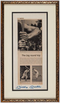 Autographs:Others, Mickey Mantle Signed Newspaper Article Display....