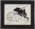 Autographs:Others, New York Yankees Greats Multi-Signed Lithograph - Mantle, DiMaggio,Ford, Jackson and Hunter....