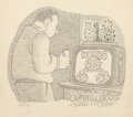 Mainstream Illustration, Gahan Wilson (American, b. 1930). Prickly News, Playboymagazine, July 18, 1983. Ink on paper. 7.25 x 8 in. (sight).Sig...