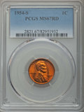Lincoln Cents: , 1954-S 1C MS67 Red PCGS. PCGS Population: (279/0). NGC Census: (795/0). CDN: $85 Whsle. Bid for problem-free NGC/PCGS MS67....