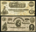 Confederate Notes:1862 Issues, T40 $100 1862;. T65 $100 1864.. ... (Total: 2 notes)