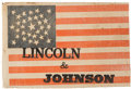 Political:Textile Display (pre-1896), Lincoln & Johnson: A Striking, Previously Unseen 1864 CampaignFlag Banner. ...