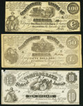 Confederate Notes:Group Lots, CSA - Lot of 3 1861 Contemporary Imitation Types.. ... (Total: 3notes)