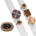Estate Jewelry:Lots, Multi-Stone, Cultured Pearl, Gold Jewelry . ... (Total: 6 Items)