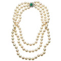 Estate Jewelry:Necklaces, Emerald, Diamond, Cultured Pearl, White Gold Necklace. ...
